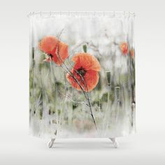 Poppies(mist). Shower Curtain by Mary Berg - $68.00 #shower #curtains #society6 #bathroom #homedesign #poppies #poppy #red #green