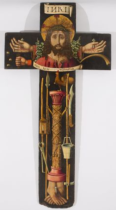 Processional cross with the bust of Christ and the Arma Christi / Cruz procesional con el busto de Cristo y los instrumentos de la Pasión // 1477-1505 // Attributed to Martín Bernat // © Museu Nacional d'Art de Catalunya