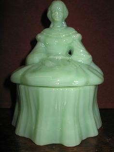 Jadeite green milk glass doll powder / jewelry box