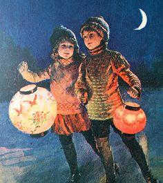 Ice Skating Children with Paper Lanterns, c.1920's  ~Via Ilona Terry