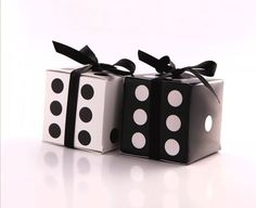 Lucky DICE Gift Favor Box Template, LS Vegas Casino Theme Party, Games Night, Gambling, Hollywood, Black and White Party Decoration