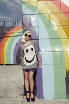 Happy face pullover, Furst of a Kind plaid skirt, Pointe platforms