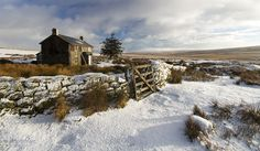 Snow on Dartmoor, South Devon, England