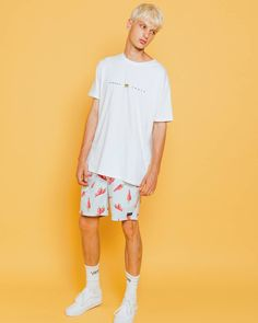 """Sriracha tobasco habanero. Nothing is spicier than the Amphibious 17"""" Swim Shorts in Chilli Print and the B.Cause We're Aus Tee in White  Available now at @peppermayomens  www.barneycools.com #Lookbook #2017 #Editorial #Inspiration #Menswear #Photography #Model #Style #Streetwear #Fashion #Clothing #Design #chilli #chillishorts"""