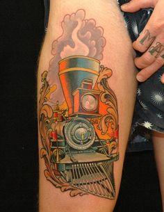 Locomotive train tattoo by Russ Abbott of Decatur, GA
