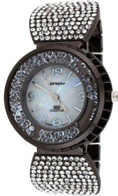 ccae11e92e2a Geneva  MN3025-IP Women s Fashion Accessory Gunmetal Crystal Accented Prism  Crystal Bracelet Watch -