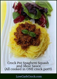 LowCarbCrock.com: Low Carb Crock Pot Meat Sauce and Spaghetti Squash (cooked all in ONE crockpot)!!!