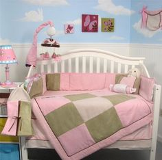 SoHo Pink & Sage Micro Suede Baby Crib Nursery Bedding Set 13 pcs included Diaper Bag with Changing Pad & Bottle Case ** Inventory clearence Special ** by SoHo Designs, http://www.amazon.com/dp/B005ZXLEYS/ref=cm_sw_r_pi_dp_fBIDrb0GRV2ME