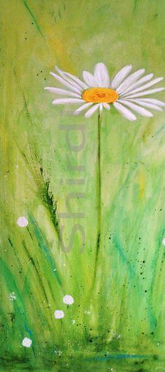 Gänseblümchen abstrakte Blume  Leinwanddruck von Art Du Soleil auf DaWanda.com