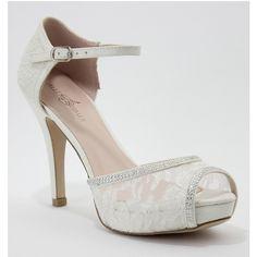 Ivory Satin & Lace Ella Peep Toe Heels ($50) ❤ liked on Polyvore