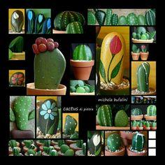 Cactus de pedra pintada