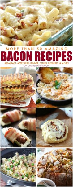More Than 50 Amazing BACON Recipes!  Everything from appetizers, to breakfast, to soup, to main dishes, and even some desserts!