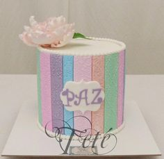 STRIPES, TEXTURES AND PEONY - Cake by Teté Cakes Design