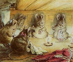 Mice sewing,  illustration from The Tailor of Gloucester - The Complete Tales of Beatrix Potter F. Warne & Co edition  1989