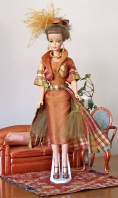 Copper And Plaid Vintage Style Dress Original By Mimi's Haute Couture For The Slim Hip Barbie And Friends on Etsy, $88.00