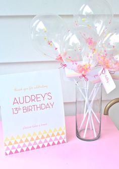 Modern Pink + Yellow 13th Birthday Party via Kara's Party Ideas | Cake, decor, printables, tutorials, recipes and more! KarasPartyIdeas.com (42)