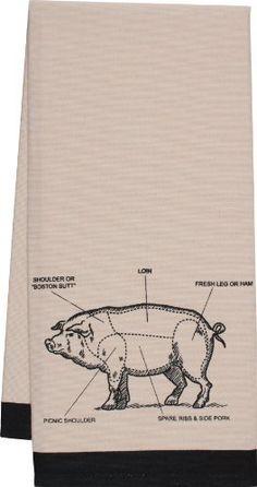 Gourmet Classics Chef's Cut Chart Pig Kitchen Towel
