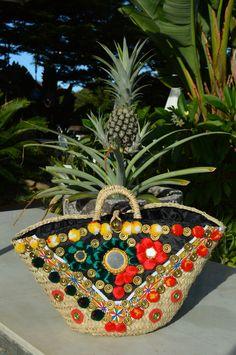 """""""Gigi"""" Sicily Bag. Sicilian straw Coffa bag adorned Pom Poms .  Shop all styles on Sicilybag.com"""