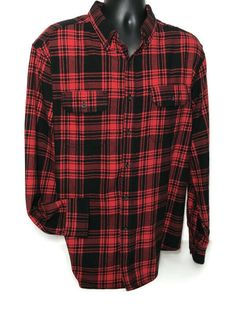 """Faded Glory Flannel Shirt XL Plaid Black Red 53"""" Chest Lumberjack Hipster Men #FadedGlory #CasualWorkwear Flannel Clothing, Flannel Outfits, Flannel Shirt, Casual Work Wear, Southern Drawl, Hipster Man, Faded Glory, Buffalo, Button Up"""