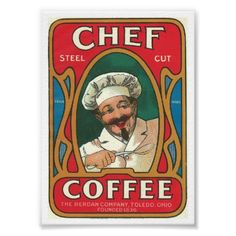 Vintage Chef Coffee Poster