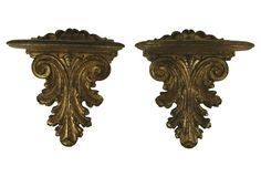 Gold Leaf Wall Brackets, Pair