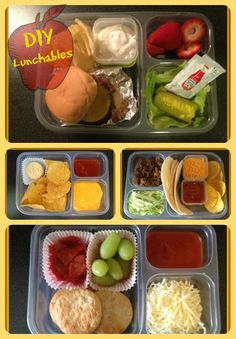 DIY Lunchables Cheeseburger, Nachos, Tacos, & Pizza! Make your own lunchables at home for school lunches.