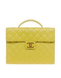 yellow Chanel briefcase