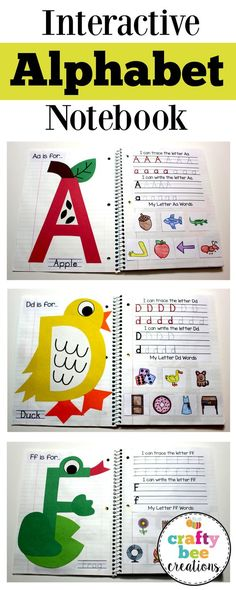 This interactive alphabet notebook is perfect for teaching the alphabet to children. Children will make a craft for each letter, write their letters, and cut and paste different pictures that match th… - Preschool Children Activities Preschool Literacy, Preschool Letters, Kindergarten Classroom, Interactive Notebooks Kindergarten, Daycare Curriculum, Interactive Learning, Preschool Worksheets, Alphabet Activities Kindergarten, Preschool Journals