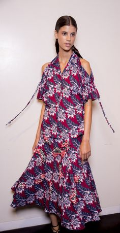 New York Fashion Week, Thakoon Spring 2015 - Tahitian Floral Cady Bare Shoulder Top and Bordeux Printed A-Line Skirt