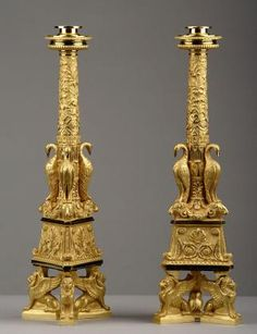 Large pair of gilt bronze candlesticks