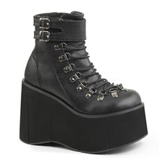 574c03709044 Demonia KERA-21 Black Wedge Womens Gothic Platform Boots - Demonia Shoes