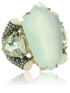 "Judith Jack ""Mint"" Sterling Silver, Marcasite and Semi Precious Ring"