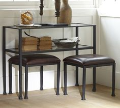 "Tanner Console Table | Pottery Barn $399, 42'' wide x 14"" deep x 30'' high  Frame is crafted of forged wrought iron for strength.  Shelf is crafted of tempered glass for safety. Catalog / Internet Only.  Stool $199  18.5"" wide x 14.5"" deep x 17.5"" high.  Frame is crafted of forged wrought iron for strength.  Stools fit underneath matching console (sold separately).  Catalog / Internet Only."