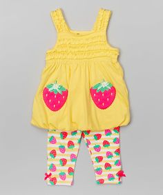 Look at this #zulilyfind! Yellow Strawberry Tunic & Leggings - Infant, Toddler & Girls by Nannette Girl #zulilyfinds