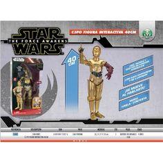 """Te presento a C3PO, droide de protocolo con capacidad para hablar fluidamente más de seis millones de formas de comunicación. Siéntete el """"amo Luke"""" con esta figura de gran tamaño del locuaz androide con movimiento, espectaculares efectos de luz y sonido y que, además, responde a tu llamada.   Figura de acción interactiva de Star Wars de C-3PO, episodio VII."""