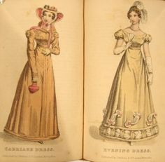 goodnessyesregency:  Ladies' Pocket Magazine, 1824. Carriage dress and evening dress.  Beautiful! The fashions of 1823-1825 are my absolute favorites. By the way, if you aren't following this tumbler you certainly should! Especially if you are interested in the Regency period!