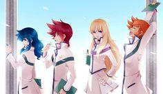 Tags: Fanart, Pixiv, Sun Trial, Fanart From Pixiv, Saint Seiya Omega, Aquila Yuna, Dragon Ryuuhou, Lionet Souma, Pegasus Kouga