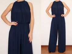 palazzo pants for women pic | Navy Blue Jumpsuit Wide Leg Palazzo Pants for Women on Wanelo