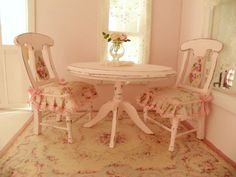 shabby chic dollhouse | dollhouse shabby chic dining room table and chairs - 1/12 dolls house ...