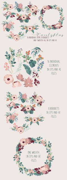 Eucalyptus - vector floral pack. Wedding Card Templates