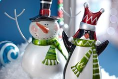 Jolly Snowman and Penguin ceramic figures from the Peppermint Playland Collection #Christmas....to feed my snowman addiction
