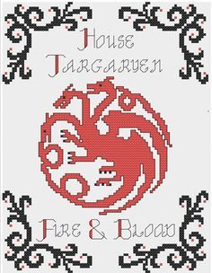 House Targaryen Blood and Fire Cross Stitch Game of Thrones Pattern