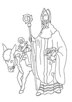 Saint nicolas gift coloring page Christmas Colors, Christmas Crafts, St Nicholas Day, Painting Templates, Christmas Coloring Pages, Art Plastique, 2 Colours, Art Drawings, Saints