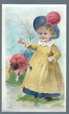1892 White Sewing Machine Trade Card Girl Doll London Boston NY Chicago SF