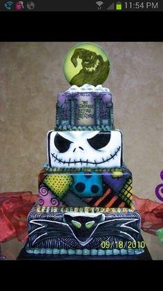 I love the Jack Skellington layer! 'Nightmare Before Christmas Wedding Cake' Halloween Torte, Bolo Halloween, Dessert Halloween, Halloween Recipe, Crazy Cakes, Fancy Cakes, Cute Cakes, Pink Cakes, Jack Skellington