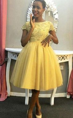 Unique Prom Dresses, Jewel Short Sleeve Ball Gown Tulle Pleated Knee Length Appliques Homecoming Dresses, There are long prom gowns and knee-length 2020 prom dresses in this collection that create an elegant and glamorous look African Lace Dresses, African Fashion Dresses, Short Dresses, Formal Dresses, Formal Prom, African Print Fashion, Classy Dress, Homecoming Dresses, Prom Gowns
