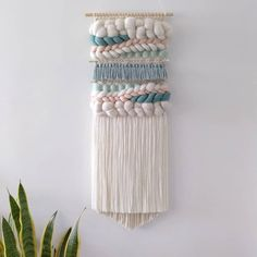 Teal Duck, Duck Egg Blue, Modern Tapestries, Woven Wall Hanging, Tapestry Weaving, Hand Weaving, Blush, Ivory, Mint