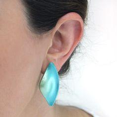 Polymer Green tail Earrings Plastic Earrings by PinguArtDesigns
