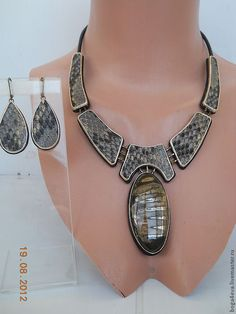 Купить Колье САМУРАЙ - авторская работа, натуральная кожа, натуральные камни, аксессуар, оригинальное украшение