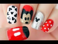 Use a toothpick to make pretty nail art designs! Toothpick can be used as a dotting tool in nail art to create tons of cool nail art designs. Ongles Mickey Mouse, Minnie Mouse Nails, Mickey Nails, Simple Disney Nails, Simple Nails, Nail Art Kawaii, So Nails, Nail Art Designs, Nails Design